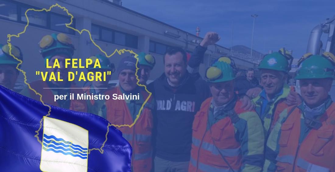 """La storia della felpa con la scritta """"Val D'Agri"""" per il Ministro Salvini"""